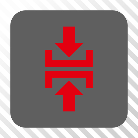 clash: Press Vertical Direction interface toolbar button. Vector pictogram style is a flat symbol centered in a rounded square button, red and gray colors, hatched diagonally transparent background.