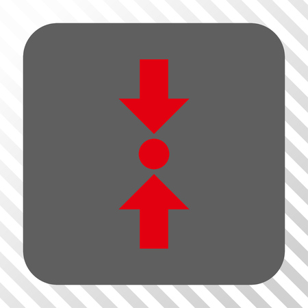 clash: Pressure Vertical toolbar icon. Vector pictograph style is a flat symbol in a rounded square button, red and gray colors, hatched diagonally transparent background.