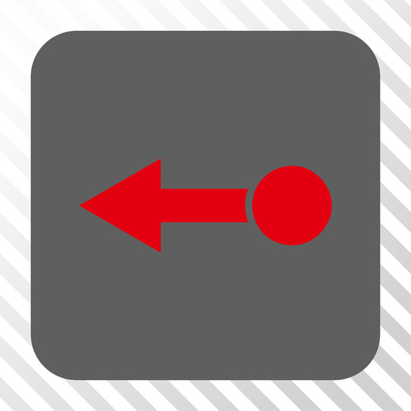 pull: Pull Left toolbar button. Vector pictogram style is a flat symbol inside a rounded square button, red and gray colors, hatched diagonally transparent background. Illustration