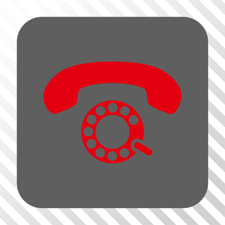 pulsing: Pulse Dialing rounded button. Vector pictogram style is a flat symbol in a rounded square button, red and gray colors, hatched diagonally transparent background.