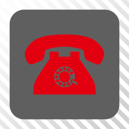 telephony: Pulse Phone interface button. Vector pictogram style is a flat symbol in a rounded square button, red and gray colors, hatched diagonally transparent background. Illustration