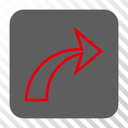 redo: Redo rounded icon. Vector pictogram style is a flat symbol inside a rounded square button, red and gray colors, hatched diagonally transparent background. Illustration