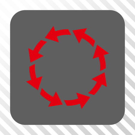 diagonally: Rotate CCW rounded icon. Vector pictogram style is a flat symbol in a rounded square button, red and gray colors, hatched diagonally transparent background. Illustration