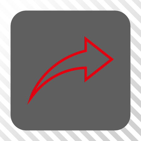 redo: Redo square button. Vector pictogram style is a flat symbol inside a rounded square button, red and gray colors, hatched diagonally transparent background.