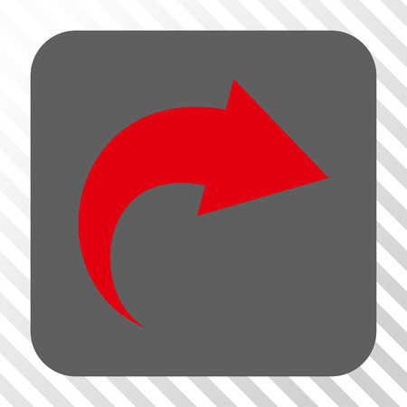 redo: Redo interface button. Vector pictogram style is a flat symbol in a rounded square button, red and gray colors, hatched diagonally transparent background.