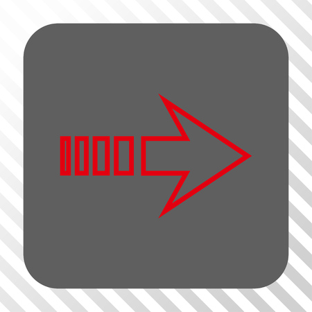 propel: Send Right rounded button. Vector pictogram style is a flat symbol on a rounded square button, red and gray colors, hatched diagonally transparent background.
