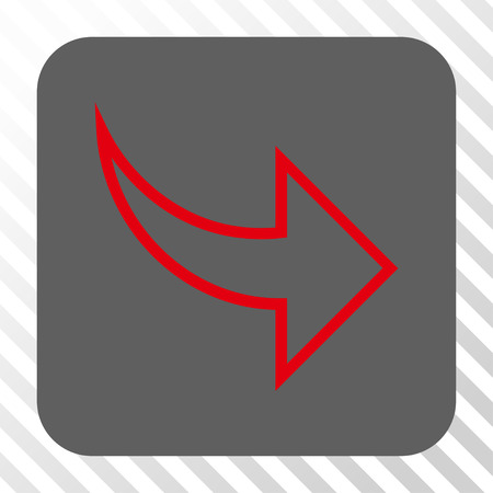 redo: Redo rounded icon. Vector pictogram style is a flat symbol centered in a rounded square button, red and gray colors, hatched diagonally transparent background.