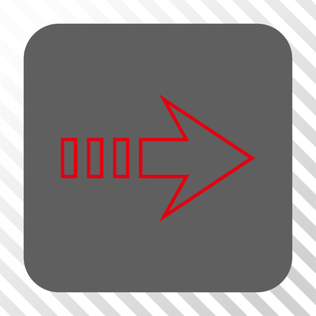 diagonally: Send Right toolbar icon. Vector pictograph style is a flat symbol in a rounded square button, red and gray colors, hatched diagonally transparent background. Illustration