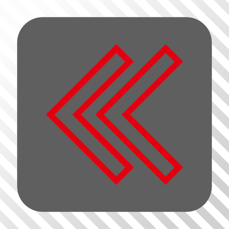 Shift Left toolbar icon. Vector pictograph style is a flat symbol on a rounded square button, red and gray colors, hatched diagonally transparent background. Illustration