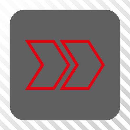 shift: Shift Right interface button. Vector pictograph style is a flat symbol centered in a rounded square button, red and gray colors, hatched diagonally transparent background.