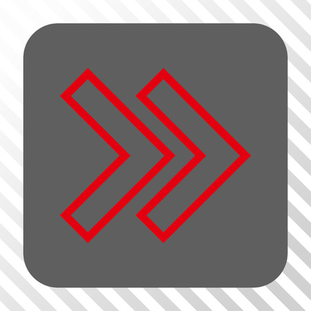 Shift Right square icon. Vector pictograph style is a flat symbol centered in a rounded square button, red and gray colors, hatched diagonally transparent background.