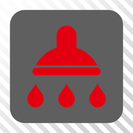 Shower square icon. Vector pictograph style is a flat symbol in a rounded square button, red and gray colors, hatched diagonally transparent background. Illustration