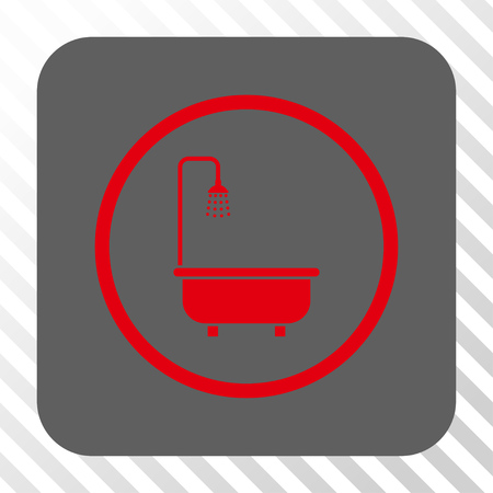 shower bath: Shower Bath square icon. Vector pictograph style is a flat symbol in a rounded square button, red and gray colors, hatched diagonally transparent background.