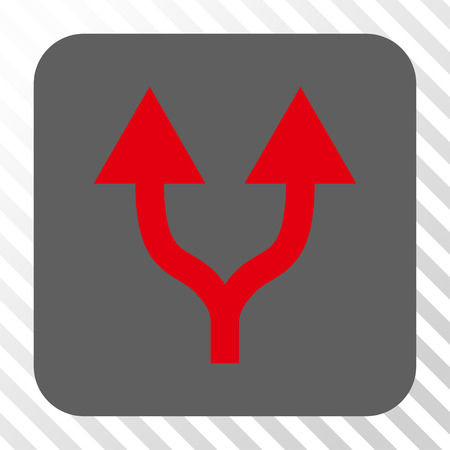 diagonally: Split Arrows Up rounded icon. Vector pictogram style is a flat symbol on a rounded square button, red and gray colors, hatched diagonally transparent background. Illustration