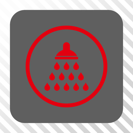 sanitize: Shower square icon. Vector pictograph style is a flat symbol on a rounded square button, red and gray colors, hatched diagonally transparent background. Illustration