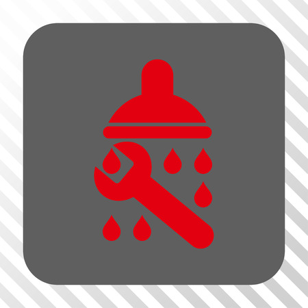 Shower Plumbing toolbar button. Vector pictograph style is a flat symbol on a rounded square button, red and gray colors, hatched diagonally transparent background.