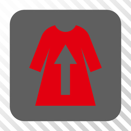 transparent dress: Take Off Female Dress toolbar button. Vector pictogram style is a flat symbol centered in a rounded square button, red and gray colors, hatched diagonally transparent background. Illustration