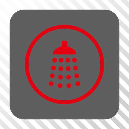 diagonally: Shower interface icon. Vector pictograph style is a flat symbol in a rounded square button, red and gray colors, hatched diagonally transparent background.