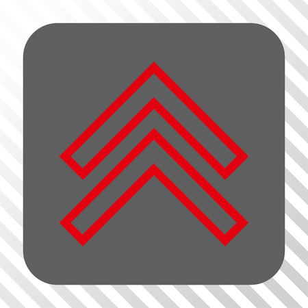 Shift Up toolbar button. Vector pictogram style is a flat symbol inside a rounded square button, red and gray colors, hatched diagonally transparent background.