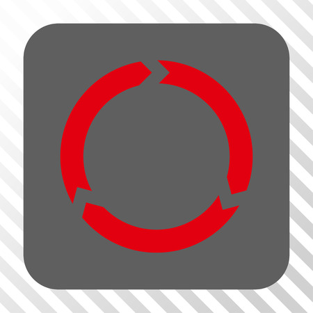 diagonally: Rotation interface button. Vector pictograph style is a flat symbol on a rounded square button, red and gray colors, hatched diagonally transparent background.