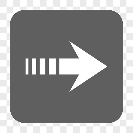 redirect: Send Right interface toolbar button. Vector icon style is a flat symbol inside a rounded square button, white and gray colors, chess transparent background.