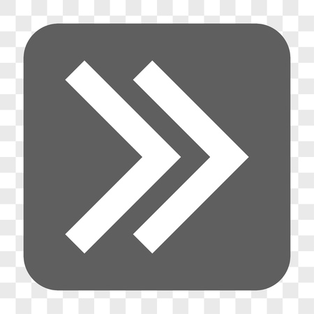 proceed: Shift Right interface toolbar button. Vector icon style is a flat symbol inside a rounded square button, white and gray colors, chess transparent background.