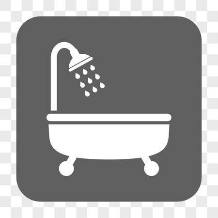 shower bath: Shower Bath interface toolbar button. Vector icon style is a flat symbol on a rounded square button, white and gray colors, chess transparent background.