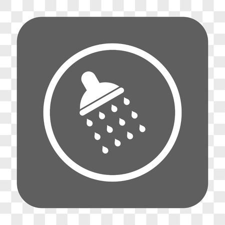 antiseptic: Shower interface toolbar button. Vector icon style is a flat symbol inside a rounded square button, white and gray colors, chess transparent background.
