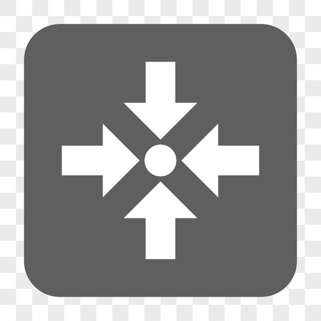 shrink: Shrink Arrows interface toolbar button. Vector icon style is a flat symbol on a rounded square button, white and gray colors, chess transparent background.