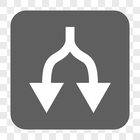 vertical divider: Split Arrows Down interface toolbar button. Vector icon style is a flat symbol in a rounded square button, white and gray colors, chess transparent background. Illustration