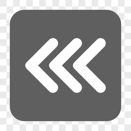triple: Triple Arrowhead Left interface toolbar button. Vector icon style is a flat symbol inside a rounded square button, white and gray colors, chess transparent background.