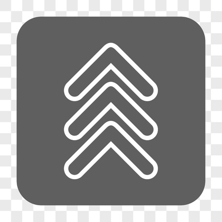 triple: Triple Pointer Up interface toolbar button. Vector icon style is a flat symbol on a rounded square button, white and gray colors, chess transparent background.