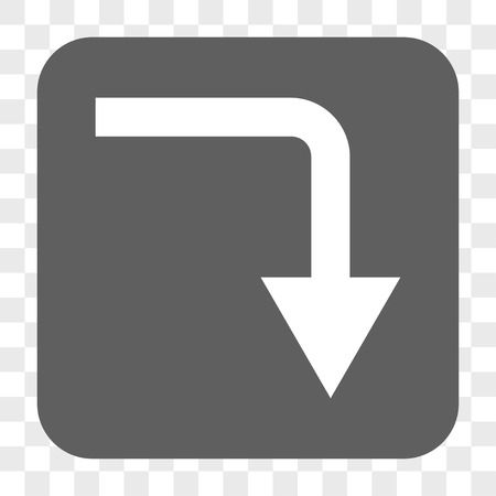turn down: Turn Down interface toolbar button. Vector icon style is a flat symbol inside a rounded square button, white and gray colors, chess transparent background.