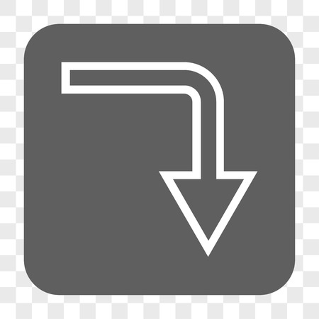 turn down: Turn Down interface toolbar button. Vector icon style is a flat symbol on a rounded square button, white and gray colors, chess transparent background.