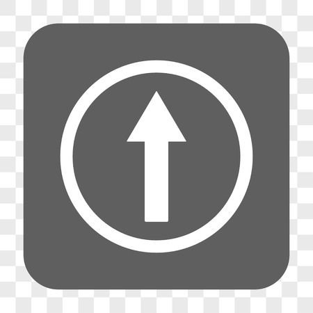 top pointer: Up Rounded Arrow interface toolbar button. Vector icon style is a flat symbol in a rounded square button, white and gray colors, chess transparent background. Illustration