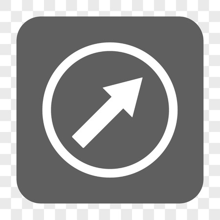 northeast: Up-Right Rounded Arrow interface toolbar button. Vector icon style is a flat symbol inside a rounded square button, white and gray colors, chess transparent background. Illustration