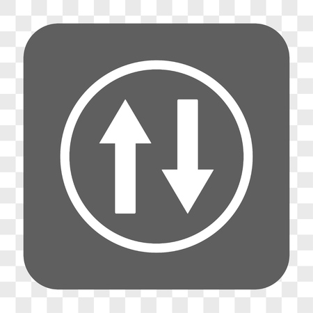inverse: Vertical Flip Arrows interface toolbar button. Vector icon style is a flat symbol inside a rounded square button, white and gray colors, chess transparent background.