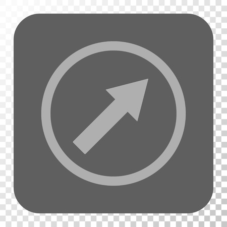 northeast: Up-Right Rounded Arrow interface icon. Vector pictograph style is a flat symbol in a rounded square button, light gray and gray colors, chess transparent background.