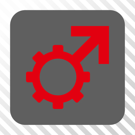 penetrate: Technological Potence interface icon. Vector pictograph style is a flat symbol on a rounded square button, red and gray colors, hatched diagonally transparent background.