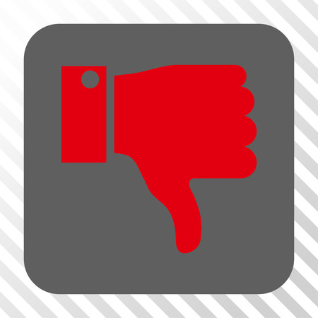 ugly gesture ugly gesture: Thumb Down interface toolbar icon. Vector pictogram style is a flat symbol on a rounded square button, red and gray colors, hatched diagonally transparent background. Illustration
