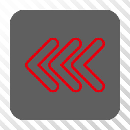 triple: Triple Pointer Left interface icon. Vector pictogram style is a flat symbol on a rounded square button, red and gray colors, hatched diagonally transparent background. Illustration