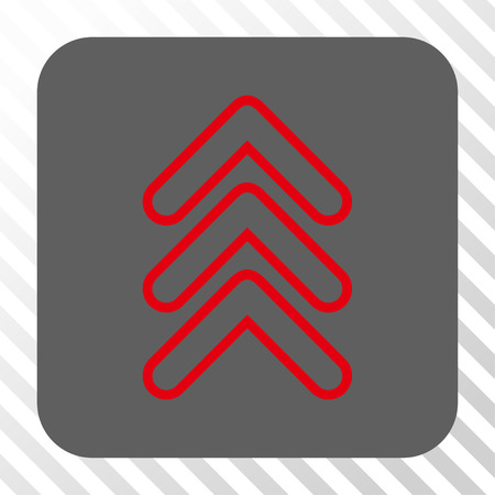 triple: Triple Pointer Up toolbar button. Vector pictogram style is a flat symbol in a rounded square button, red and gray colors, hatched diagonally transparent background.