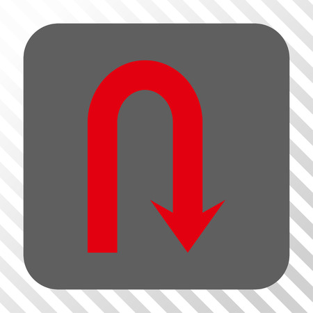 u turn: Turn Back interface button. Vector pictograph style is a flat symbol in a rounded square button, red and gray colors, hatched diagonally transparent background. Illustration