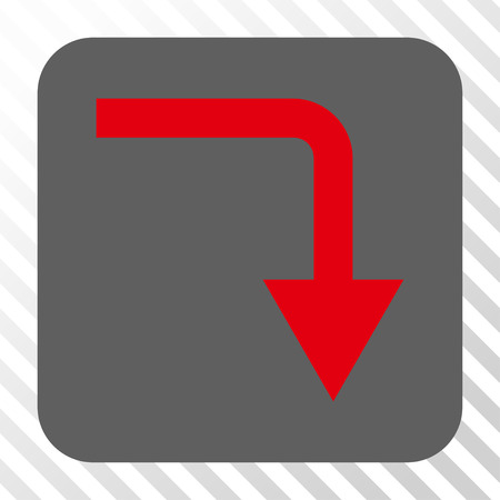 turn down: Turn Down toolbar button. Vector pictogram style is a flat symbol in a rounded square button, red and gray colors, hatched diagonally transparent background. Illustration