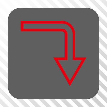turn down: Turn Down interface button. Vector pictogram style is a flat symbol centered in a rounded square button, red and gray colors, hatched diagonally transparent background.