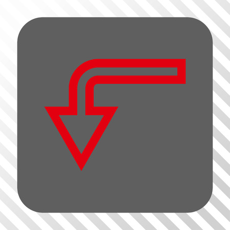 turn down: Turn Down toolbar button. Vector pictogram style is a flat symbol centered in a rounded square button, red and gray colors, hatched diagonally transparent background. Illustration