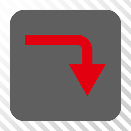 turn down: Turn Down interface toolbar icon. Vector pictograph style is a flat symbol on a rounded square button, red and gray colors, hatched diagonally transparent background. Illustration