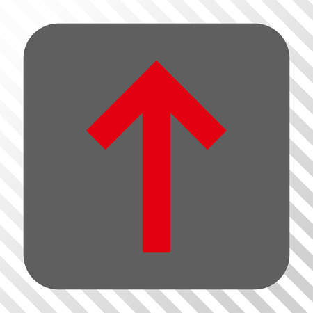 go forward: Up Arrow rounded icon. Vector pictograph style is a flat symbol inside a rounded square button, red and gray colors, hatched diagonally transparent background.