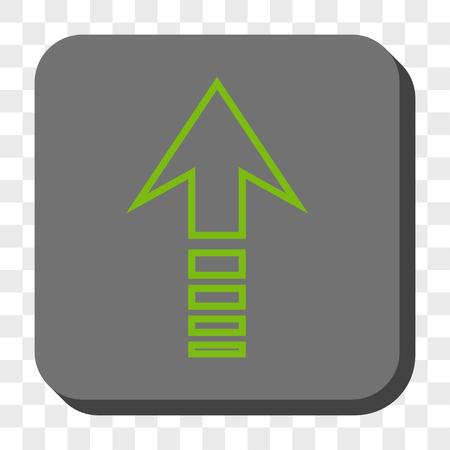 Envoyer l'icône carrée. Style de pictogramme de vecteur est un symbole plat dans un bouton carré arrondi, couleurs vert clair et gris, fond transparent d'échecs.