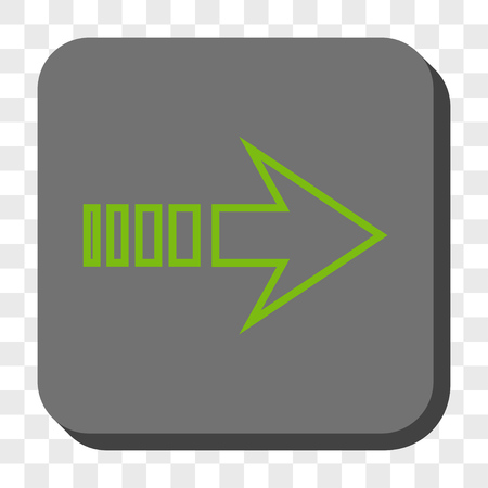 redirect: Send Right rounded icon. Vector pictograph style is a flat symbol inside a rounded square button, light green and gray colors, chess transparent background.